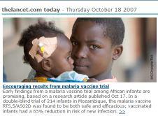 Malaria vaccine (thelancet.com 18/10/07)