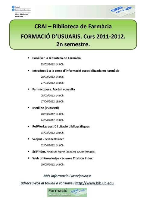 Formació d'usuaris 2n semestre. Curs 2011-12 Biblioteca de Farmàcia