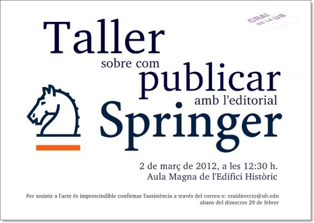 Taller per a autors: publicar amb Springer