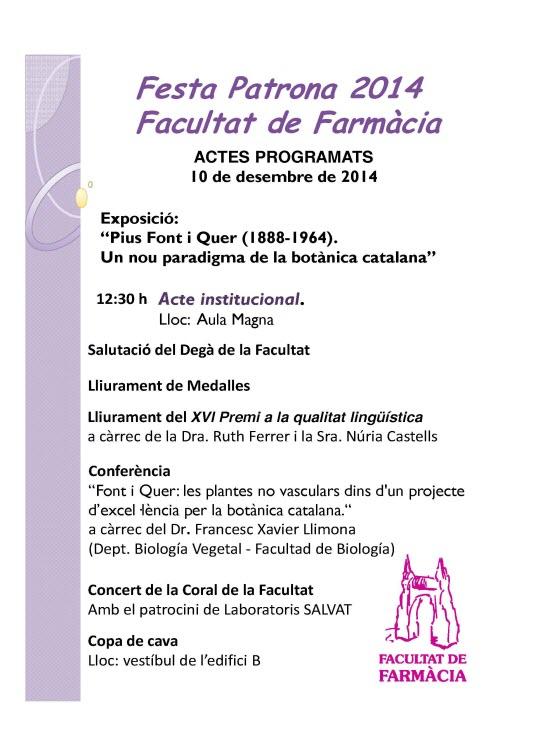 Festa Patrona 2014 Facultat de Farmàcia