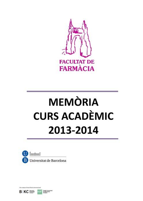Memòria Facultat Farmàcia 2013-2014