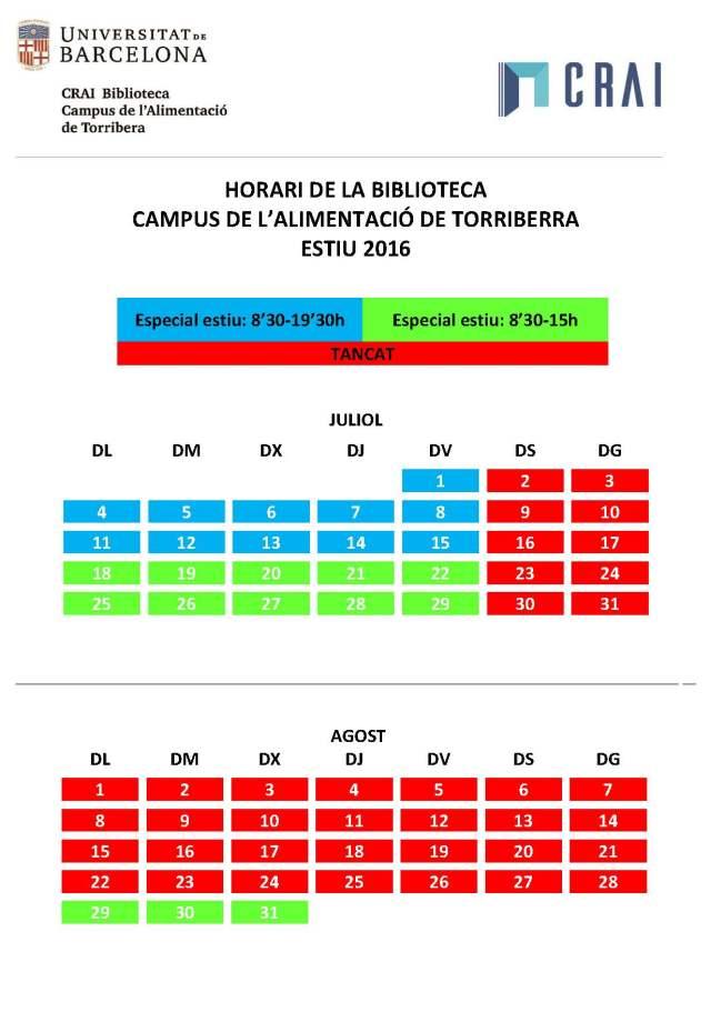 horari_estiu_calendari 2016 Torribera